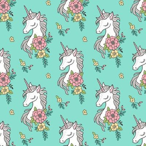 Dreamy Unicorn & Vintage Boho Flowers on  Mint Smaller 3,4 inch
