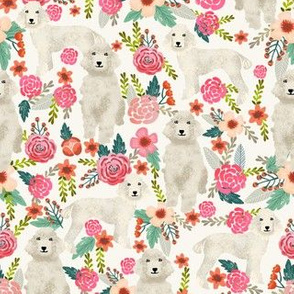 cream poodle fabric dogs and florals design cute dog design fabric