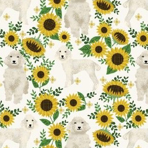 cream poodle fabric dogs and florals design cute dog design fabric sunflowers
