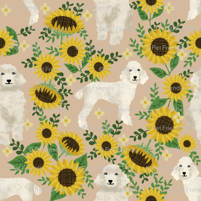 cream poodle fabric dogs and florals design cute dog design fabric sunflowers tan