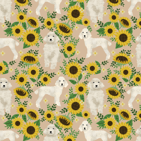 cream poodle fabric dogs and florals design cute dog design fabric sunflowers tan fabric by petfriendly on Spoonflower - custom fabric