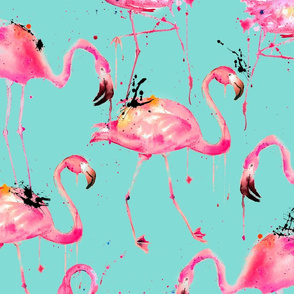 flamingo repeat on aqua!