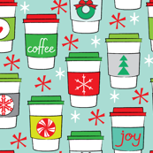christmas coffee cups on blue