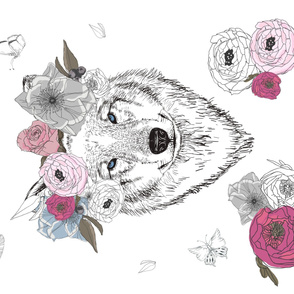 "56""x36"" Girl Wolf with Flowers"