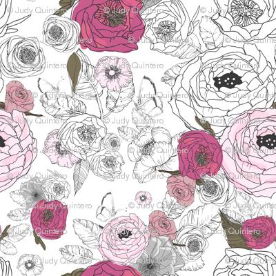"""36"""" Girl Wolf Florals / Mix & Match"""