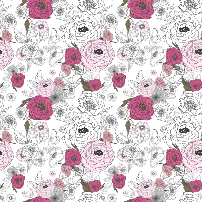 """36"""" Girl Wolf Florals / Mix & Match fabric by shopcabin on Spoonflower - custom fabric"""