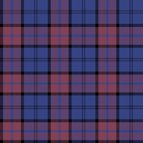 "Dunbar tartan, 6"", custom colorway dark pink/blue"