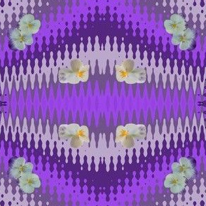 Purples_pansy_wave_Tea Towel