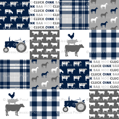 farm wholecloth - patchwork farm fabric navy plaid