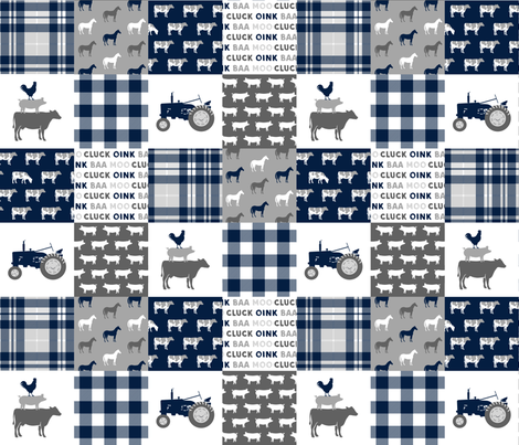 farm wholecloth - patchwork farm fabric navy plaid fabric by littlearrowdesign on Spoonflower - custom fabric