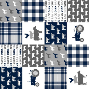 farm wholecloth (90)- patchwork farm fabric navy plaid