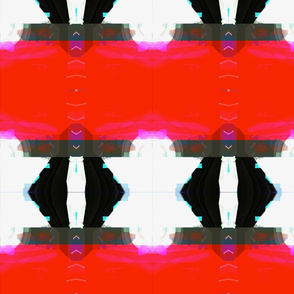 Ikat Effect Black Red and White Diamond Stripe