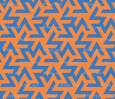 Geometric Pattern: Triskelion: Blue/Orange