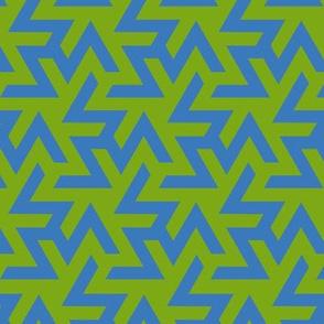 Geometric Pattern: Triskelion: Blue/Green
