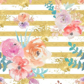 Gold_pin stripe_floral bouquets_with_gold_ink_splatters