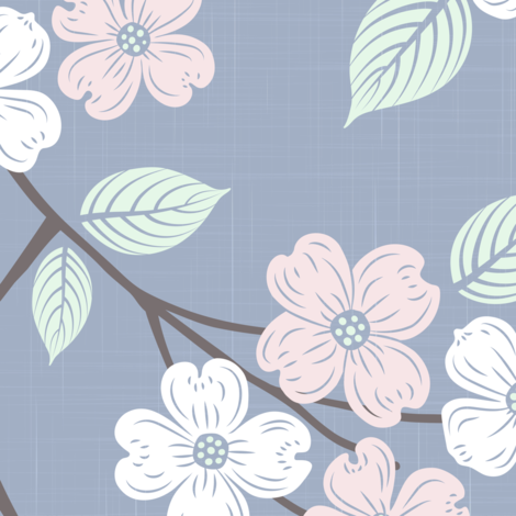 Dogwood Block Print Blue with Pink and White fabric by juniperr on Spoonflower - custom fabric
