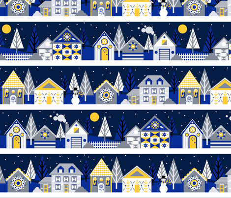 Snow at Night fabric by nikijin on Spoonflower - custom fabric