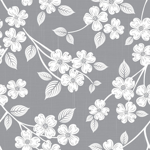 Dogwood Block Print Gray