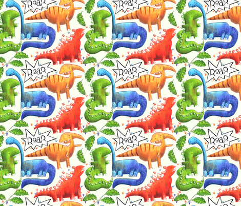 Dinosaur fabric by mariamottaillustration on Spoonflower - custom fabric