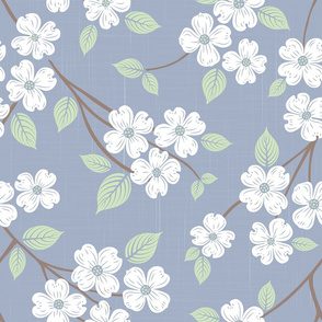 Dogwood Block Print White
