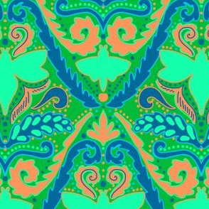 Boho bee damask in absinthe