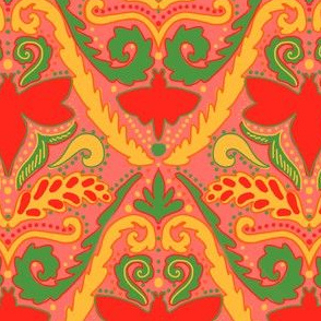 Boho bee damask in hot sauce