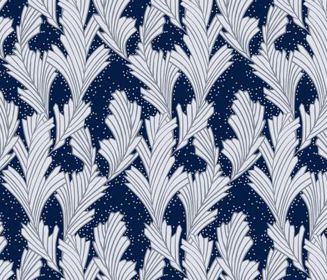 Frost Flower Platinum and Blue fabric by marketa_stengl on Spoonflower - custom fabric