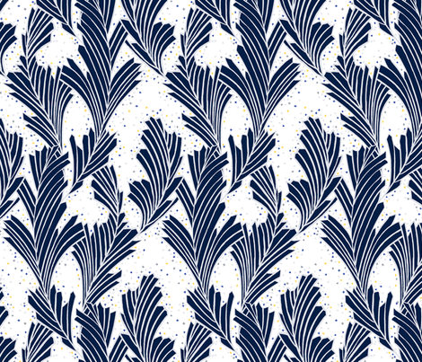 Frost Flower Blue and white fabric by marketa_stengl on Spoonflower - custom fabric