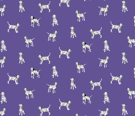 Dalmatian Puppies on Ultra Violet Backgroung fabric by marketa_stengl on Spoonflower - custom fabric
