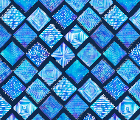 Blue Watercolor Tiles with White Texture fabric by marketa_stengl on Spoonflower - custom fabric