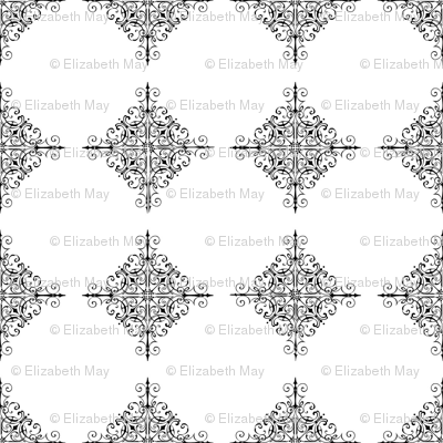 Black and white lace squares
