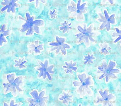 watercolor flowers blue and turquoise