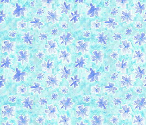 watercolor flowers blue and turquoise fabric by larilou-art on Spoonflower - custom fabric