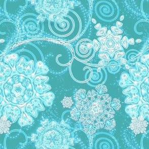 snowflake sky in teal