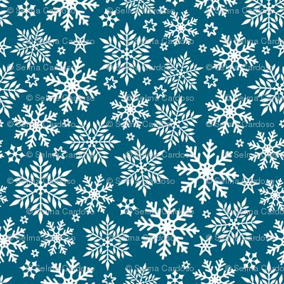Magical snowflakes 10 // marine blue background white snowflakes