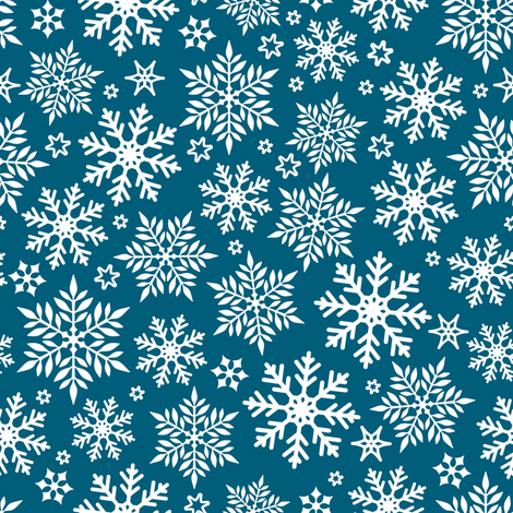 Magical snowflakes 10 // marine blue background white snowflakes fabric by selmacardoso on Spoonflower - custom fabric