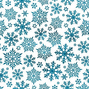 Magical snowflakes 11 // white background marine blue snowflakes