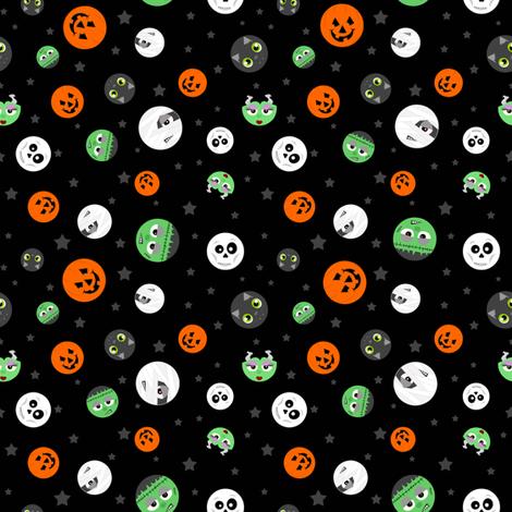 Halloween Polka Dot Faces fabric by jannasalak on Spoonflower - custom fabric