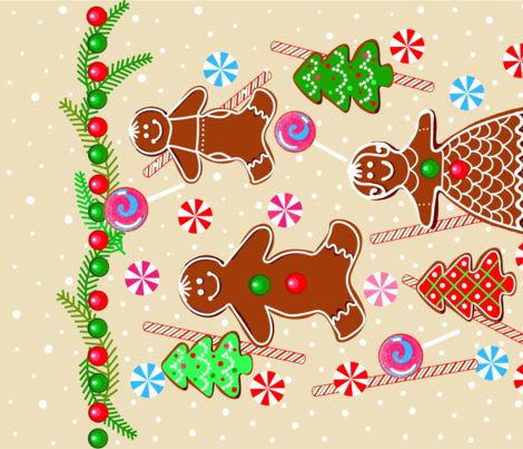 Gingerbread_tea_time fabric by paletteroyale on Spoonflower - custom fabric
