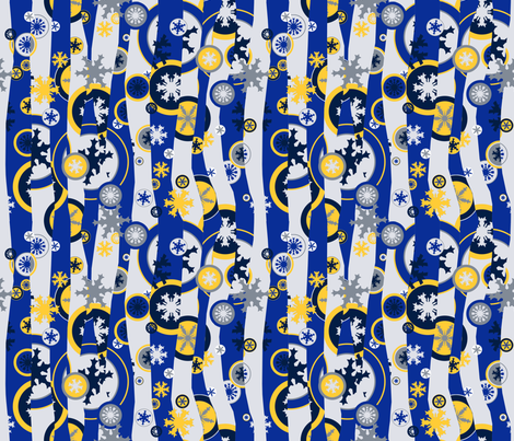 Snowed Under Mod - blue & yellow fabric by engravogirl on Spoonflower - custom fabric