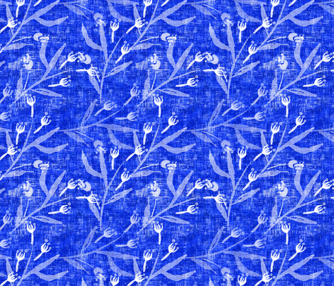 Sketched floral on Cobalt Blue - Large Scale fabric by joanmclemore on Spoonflower - custom fabric