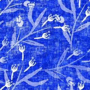 Sketched floral on Cobalt Blue - Large Scale