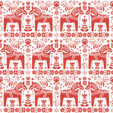 St Knut in strawberry red fabric by lilyoake on Spoonflower - custom fabric