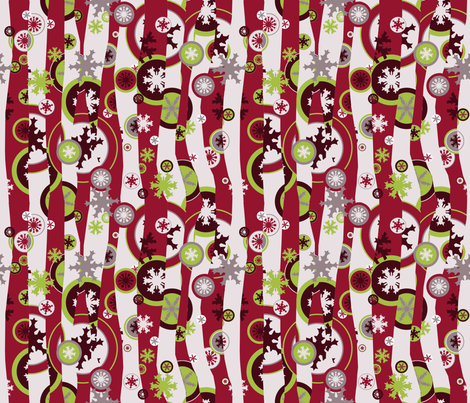 Snowed Under Mod - Carmine fabric by engravogirl on Spoonflower - custom fabric