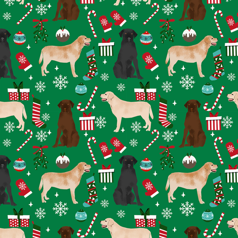 Labrador Retrievers dog breed fabric christmas stockings pet lovers holiday green fabric by petfriendly on Spoonflower - custom fabric