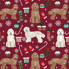 Labradoodle dog breed fabric christmas stockings pet lovers holiday ruby