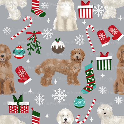 Labradoodle dog breed fabric christmas stockings pet lovers holiday grey