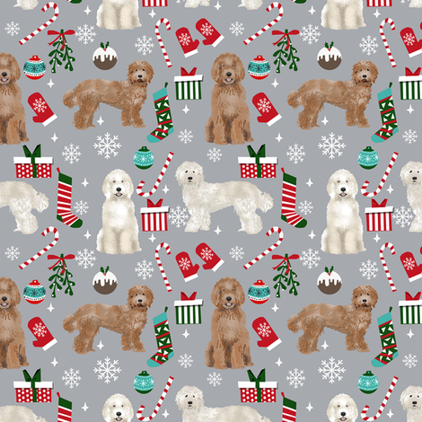 Labradoodle dog breed fabric christmas stockings pet lovers holiday grey fabric by petfriendly on Spoonflower - custom fabric