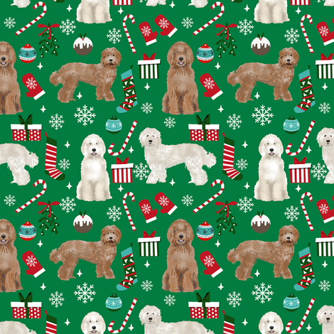 Labradoodle dog breed fabric christmas stockings pet lovers holiday green fabric by petfriendly on Spoonflower - custom fabric