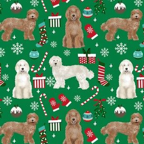 Labradoodle dog breed fabric christmas stockings pet lovers holiday green